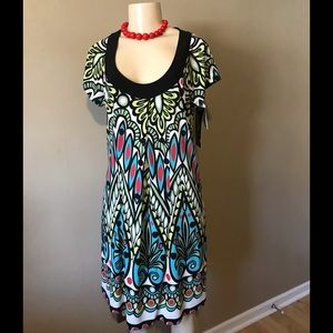 Scarlett dress size 12. Colors red black turquoise